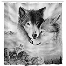 cortina de ducha de lobos